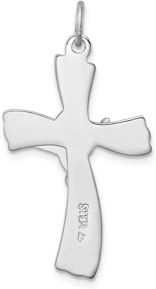Solid 925 Sterling Silver INRI Cross Pendant Crucifix Charm 31mm x 16mm