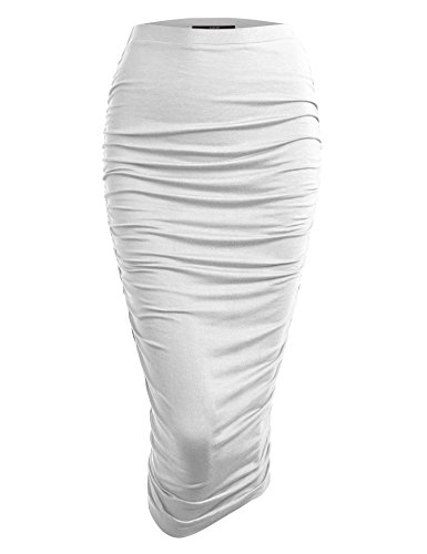 Made By Johnny WB1147 Womens Elegant High Waist Pencil Skirt with Side Shirring XS White ()
