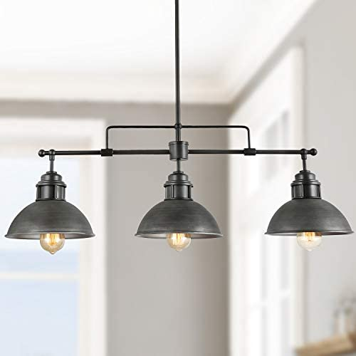 Log Barn Pendant Lighting for Kitchen Island, Black Chandelier in Brushed Antique Dark Metal Finish, Industrial Linear Ceiling Fixture Hanging for Dining Rooms, Pool Tables