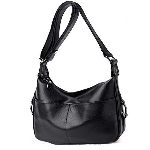 Lustear Ladies Soft Leather Shoulder Bags Hobo Style Bag (Black) by Lustear