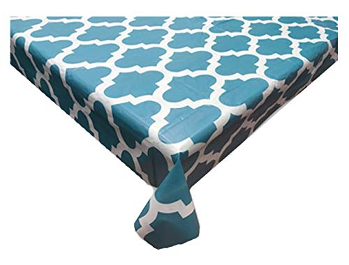 Texstyles Deco PEVA Vinyl Tablecloth Flannel Backed Indoor/Outdoor Eco-Friendly Waterproof Table Cloth with Trellis Design, 60 x 102 Oblong for Rectangle Tables (Blue/White)