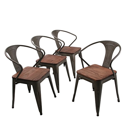 Andeworld Set of 4 Metal dining Chairs Bistro Cafe Side Chairs Gun Metal Chairs(Large Seat Wooden)