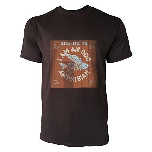 SINUS ART® Fliegender Fisch mit rotem Hintergrund Herren T-Shirts in Schokolade braun Fun Shirt mit tollen Aufdruck