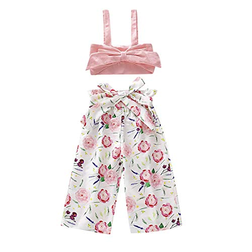 Toddler Baby Girls 2Pcs Set,Kids Ruffle Vest Crop Tops+Floral Wide Leg Pants Summer Outfits (3-4 Years, Flower)