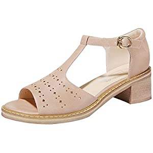 T&Mates Womens Summer Sweet Open Toe Hollow Out Ankle Strap Cutout Low Heel Sandals (7 B(M)US,Pink)
