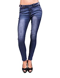 Cello Jeans Women Trouser Skinny Jeans with Side Button and Gold Stitch