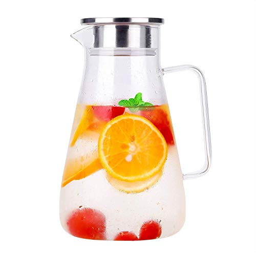 Pitcher Cover - Carafe Glass Pitcher Jug Lead-Free Borosilicate Glass Kettle with Crystal Handle and Stainless Steel Lid Cover for Milk, Red Wine, Cold Water, Fruit Juice, Hot Coffee, Ice Drinks etc (1.8 L)