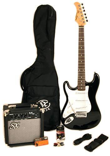 Left Handed Beginner 3/4 Size Electric Guitar Package with Amp, Carry Bag and Strap SX RST 3/4 LH BK
