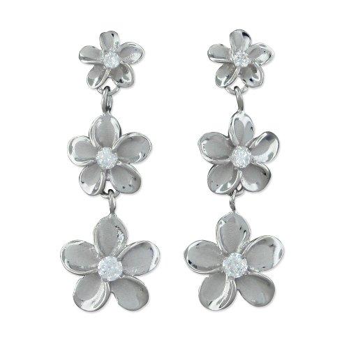 Rhodium Plated Sterling Silver Three Plumeria Dangle Earrings