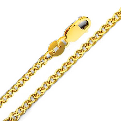 14k Yellow Gold Crucifix Cross Pendant with 1.7mm Flat Open Wheat Chain Necklace