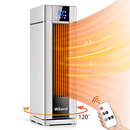 Space Heater With Remote Control,LCD Ceramic Tower Heater 120 °Oscillating 1500W Fast Heating Electric Heater With Thermostat 12H Programmable Timer 3 modes Air Conditioner For  Living Room Bathroom