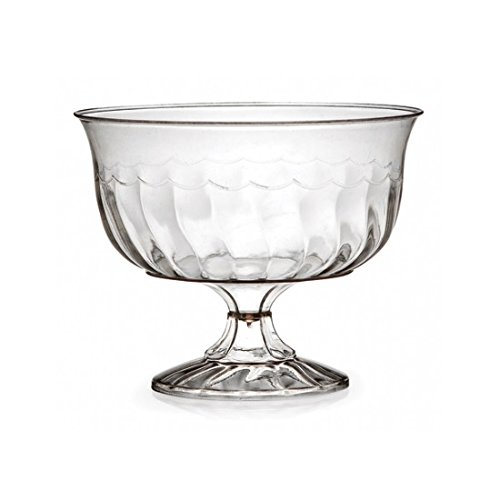Fineline Settings 2088, 8 Oz. Flairware Clear Plastic Dessert Cups, Ice-cream Jelly Mousse Disposable Serving Dessert Bowls (50)
