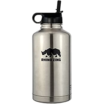 Amazon Com 64 Oz Growler Stainless Steel Bottle Straw Lid