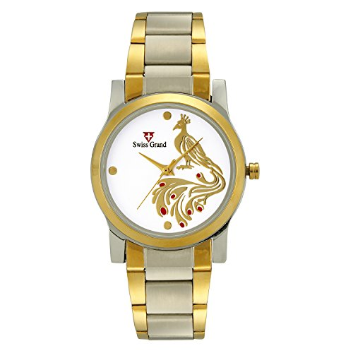 Swiss Grand SG 1175 Silver Coloured with Gold Stainless Steel Strap Analog Quartz Watch for Women