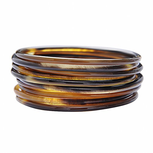 - Marycrafts Womens Handmade Horn Fashion Stacking Bangle Bracelet Set of 10 Medium
