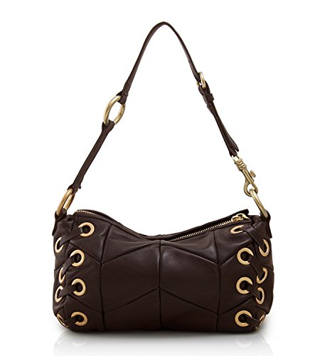 Lambskin Leather Tote (Lush Leather Lambskin Small Panel Edgy Laced Zippered Coffee Brown Shoulder Tote)
