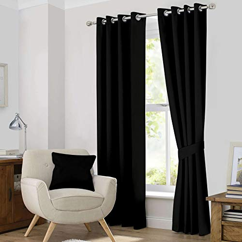 (Ample Decor Blackout Window Treatment Set of 2, Room Darkening Thermal Insulated tie-Backs Included Blackout Grommet Curtain Set for Living Room, Bedroom and More - 2 Panels,Black (46 X 84 Inch))
