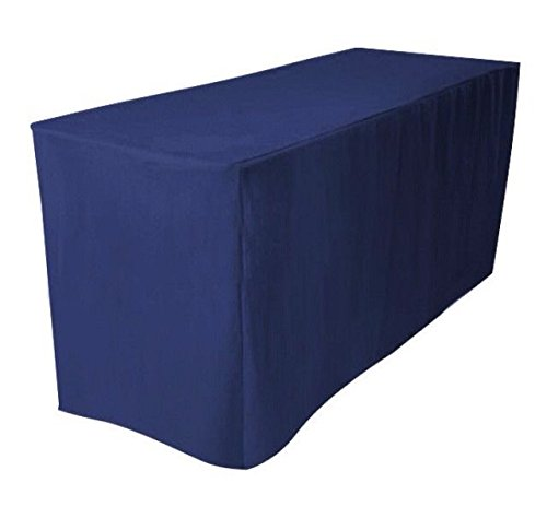 Fitted Black Polyester Table Cover Trade show Booth DJ Tablecloth wedding 5/' ft