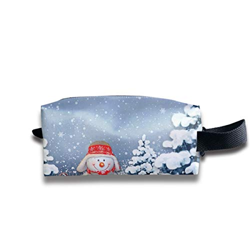 (Szipry Cosmetic Bag Travel Handbag Snowman with Hat and Scarf Prints Womens Girls Toiletry Bag Zipper Wallet with Wrist Band)