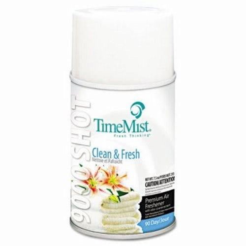 TimeMist 9000 Shot Metered Air Fresheners, Clean N' Fresh, 7.5oz, Aerosol - four aerosol air freshener refills.