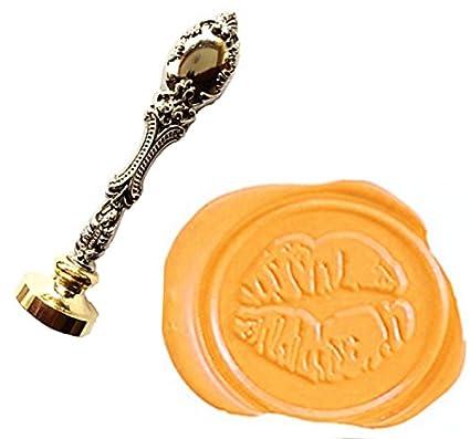 mnyr Vintage bronce Love Sexy Art labios con sello de cera sello lujo metal pavo real decorativo invitaciones de boda tarjetas de regalo papel parado sobre ...