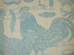 Curtain Fabric Poultry Chickens Blue Designer French Linen