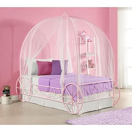 Amazon.com: Pink Canopy Bed Frame Princess Bed Carriage Twin Kids ...