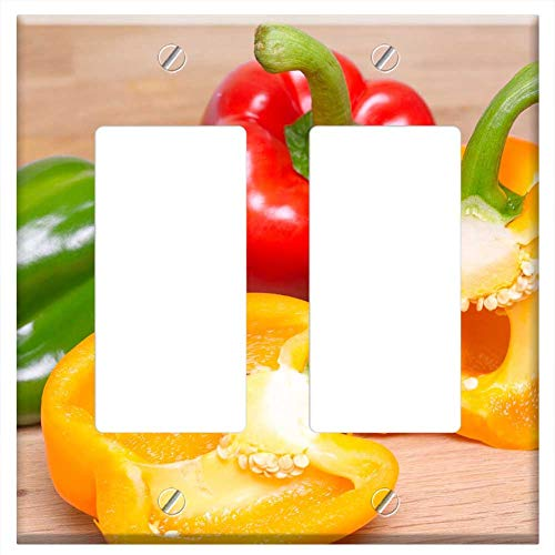 Switch Plate Double Rocker/GFCI - Fresh Peppers Vitamin C Food Healthy Vegetable 2