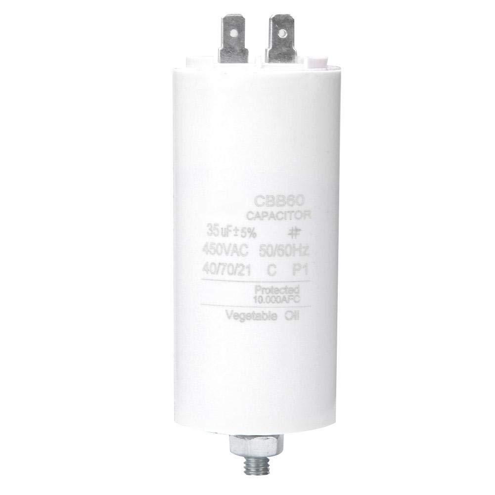 CBB60 450V 35uf Motor Start Run Capacitor Water Pump Capacitor Pump Control Box with Screw Nut for Washing Machine