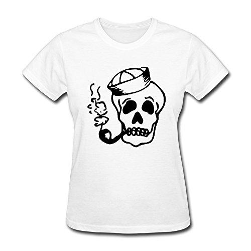 Particular Sailor Skull Tee Customizable For Ladies White