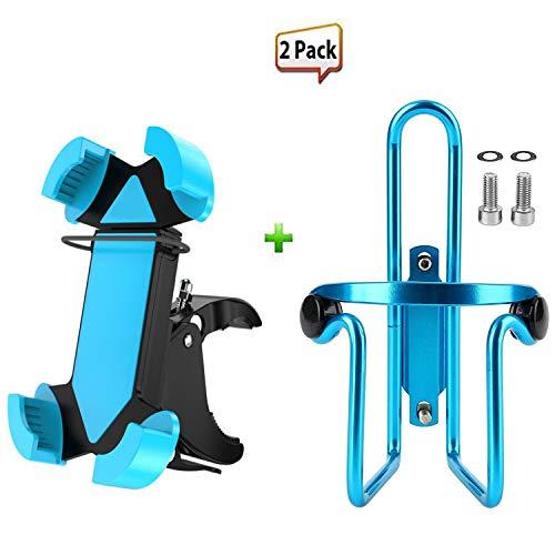 2 Pack Bike Accessories,Universal 360 Degree Rotation Bike Bicycle Phone Mount Holder Bike Handlebar Mount & Bike Water Bottle Cages Holder Bracket