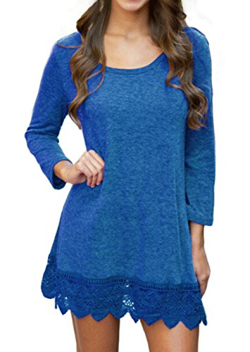 Songbai Womens Flared Comfy Loose Fit Tunic Top Blue M