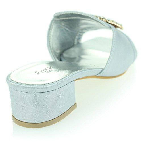 Mujer Señoras Broche Detalle Diamante Ponerse Tacón de Bloque Noche Casual Fiesta Sandalias Zapatos Tamaño Plata