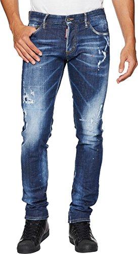 Dsquared2 Leather Jeans - DSQUARED2 Men's Top Spot Slim Jeans Blue 54 33