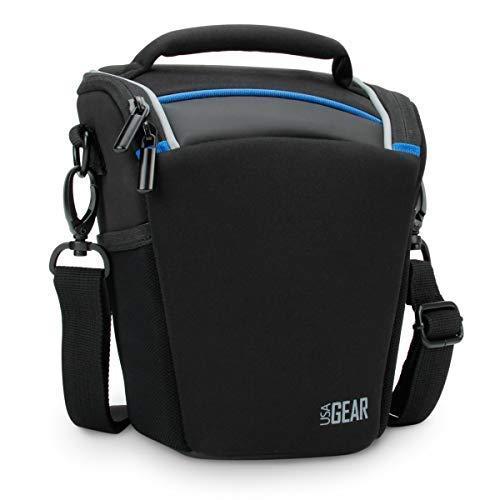 Case Loading Soft Top - USA Gear SLR/DSLR Camera Case Bag with Top Loading Accessibility, Adjustable Shoulder Sling, Padded Handle, Removeable Rain Cover & Weather Resistant Bottom - Black