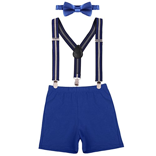 Baby Boy Cake Smash First Birthday Y Back Clip Suspenders Bloomers Bowtie Outfits Photography Props Royal Blue & Stripe Boxers