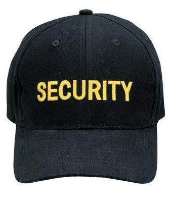 Low Profile Black Insignia Cap - Rothco Security Super Low Profile Insignia Cap W/ Gold Embroidery
