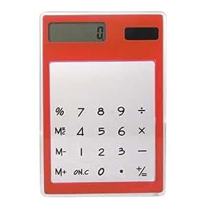 TOOGOO(R) Calculadora Solar Digital Pantalla Tactil Transparente 8 Digito Plastico Rojo