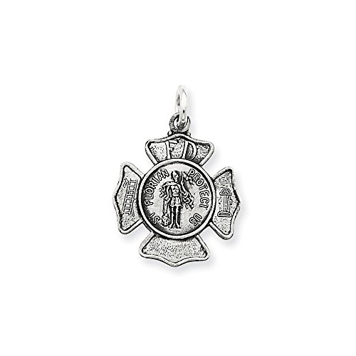 - .925 Sterling Silver St. Florian Fireman's Badge Medal Charm Pendant