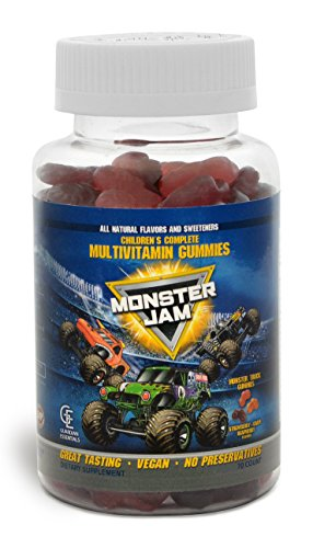 MONSTER JAM Kids & Toddlers Gummy Complete Daily Multivitamins by Guardian Essentials. MONSTER TRUCK SHAPES! Soft texture, 3 great berry flavors! Kid & parent approved! Vegetarian, vegan. (70 count)