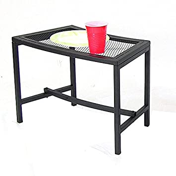 Sunnydaze Black Mesh Patio Side Table, 23 x 16 Inch – 1 Table