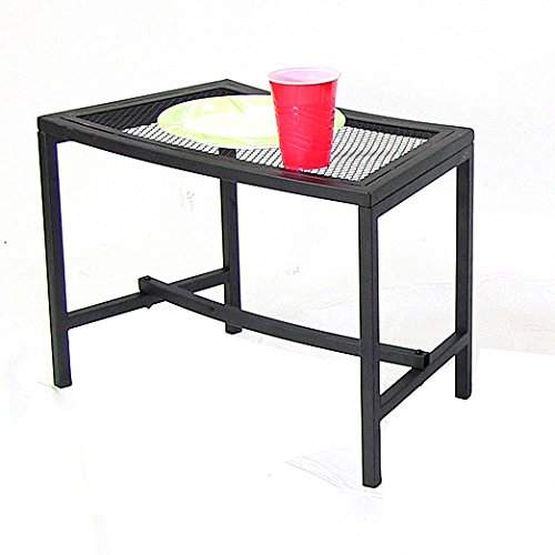 Sunnydaze Black Metal Mesh Patio Side Table – Lightweight and Portable Outdoor Furniture – Heavy Duty Modern Camp Fire or Fire Pit End Table – 23-Inch