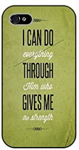 For Ipod Touch 5 Case Cover Bible Verse - I can do everything through Him who gives me strength. Vintage green - black plastic case / Verses, Inspirational and Motivational