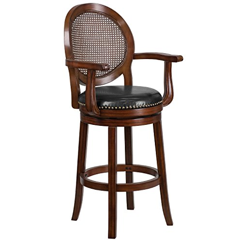 (MFO 30'' High Expresso Wood Barstool with Arms and Black Leather Swivel Seat)