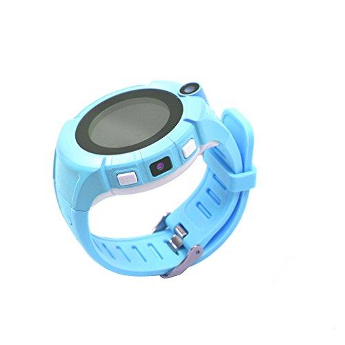 Korowa Kids Child Smart Watches Round Dial Touch Screen Smartwatch Anti-Lost Tracker Baby Wrist Watch Phone Q360 Blue