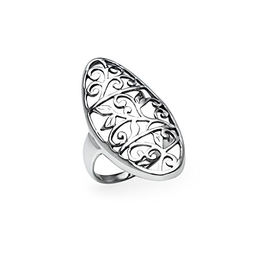 Sterling Silver Filigree Flower Ring - Comfort Fit Wrap Long Midi Friendship Band Size 12 (Silver Flower Sterling Filigree Ring)