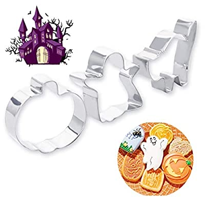Cake Molds - 3pcs Lot Halloween Series Pumpkin Cats Shape Cookie Cutters Stainless Steel Cake Stencil Biscuit - Jalapeno Fish Patrol Tooth Organizer Cactus Lips Numbers Vegetables Unique Imprint