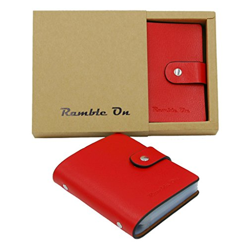 Genuine Leather Organizer (Genuine Leather Business Card / Credit Card Holder Case by Ramble On – Holds up to 80 Business Cards or 40 Credit Cards - for All your Important Cards - Comes in a Great Gift Box (Red))