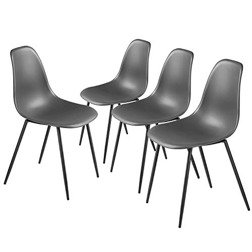 Dining Chairs Set of 4, Side Chair Modern Stylish PP Plastic Seat with Metal Legs Mid Century Modern Chair for Living Room, Dining Room, Bedroom, Lightweight Kitchen Chairs