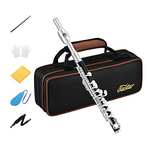 Eastar EPC-3S Black Resin Piccolo Key of C 2-Piece With Silver Plated Keys Hard Case Fingering Chart, Cleaning Rod, Cloth, Swab and Gloves